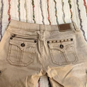Antique rivet beige straight leg jeans size 30